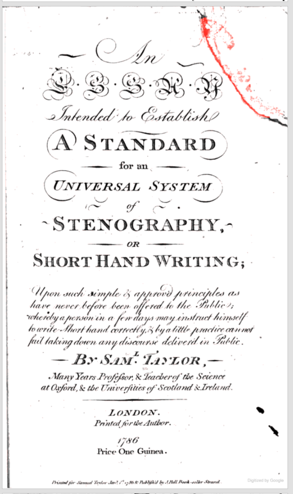 Title page of Taylor's An essay intended to establish a standard for an universal system of stenography