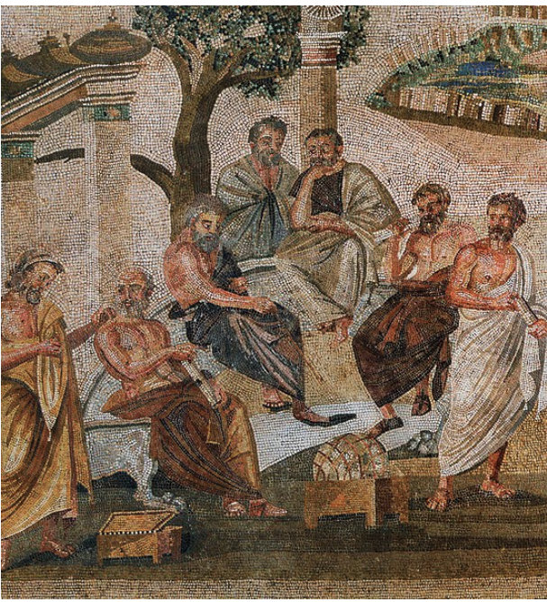 Plato surrounded by his students at the Academy. Roman mosaic of the 1st century BCE from Pompeii, now at the Museo Nazionale Archologico, Naples.