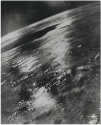 This photograph of the curviture of the earth taken from a V2 rocket, sold at Christie's in London in November 2020, was used in a press release dated March 27, 1947.