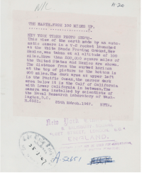 Back of the press photograph sold at Christie's in November 2020 including the ditto'd caption and press service date stamps.