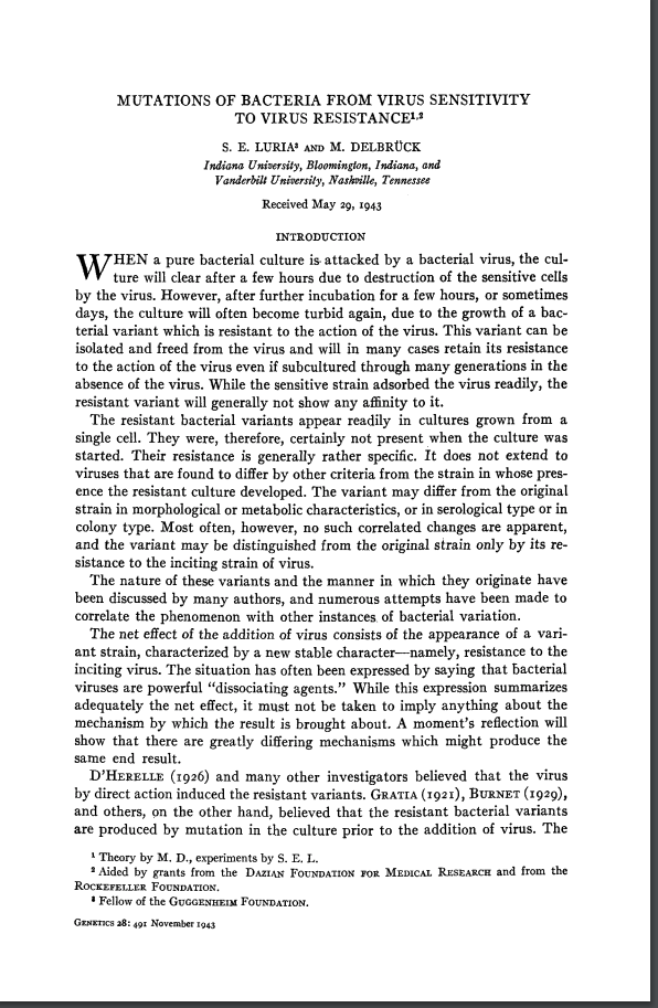 First page of the Luria & Delbruck paper