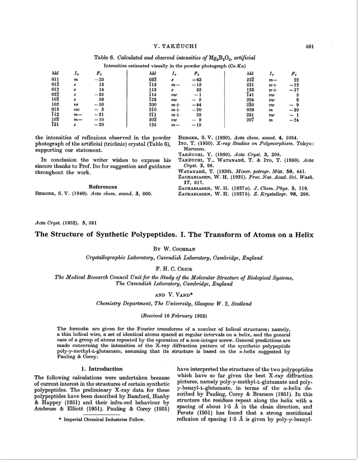First page of the Cochran, Crick and Vand paper