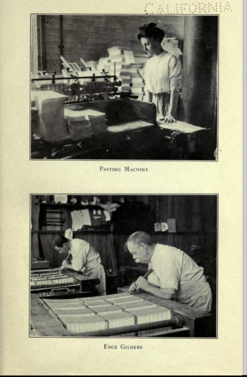 Woman running a [asting machine from van Kleeck's book, below which is a photograph of Edge Gilders, a job apparently done by men.