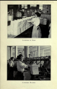 "Gathering folded sheets by hand, beneath which is operating a ""gathering machine."""