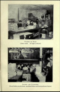 Folding by hand, above which is another view showing hand folders on a platform and machine folders and hand gatherers below.