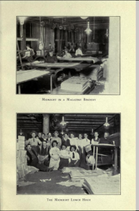"""Midnight in a magazine bindery,"" beneath which is ""The midnight lunch hour.""  Clearly these were undesirable working hours."