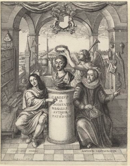 Frontispiece by Wenceslaus Hollar of Sprat's History of the Royal Society depicting Bacon in the foreground on the right as one of the founding influences of the Society.