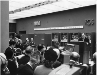 Paul Tasman addresses a conference at IBM on the concordance produced on the IBM 705 for the texts of the dead sea scrolls.