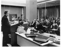 Roberto Busa addresses at Conference in March 1958 at IBM World Headquarters regarding the computerized concordance of the Dead Sea Scrolls.