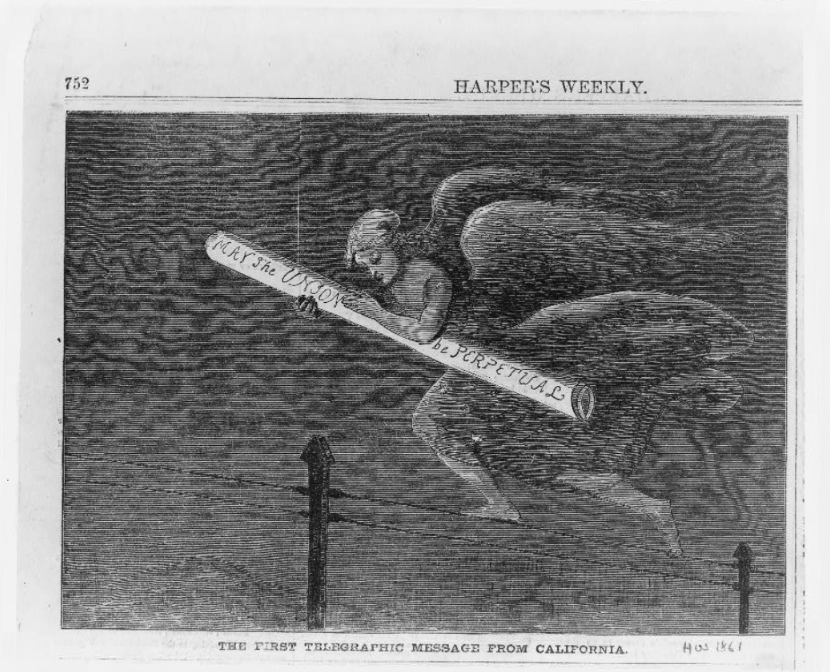 Cartoon from Harper's Weekly, 1861, p. 752 illustrating the first telegraphic message sent from California.