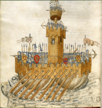 Ship with armed soldiers   De re militari (15th C), f.231v   BL Add MS 24945
