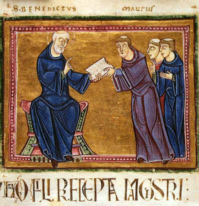 St. Benedict delivering his rule to the monks of his order