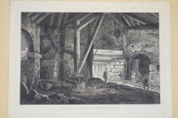 The Inside of  SMELTING HOUSE, at BROSLEY, SHROPSHIRE. Engraved by Wilson Lowry after George Robertson (1788)