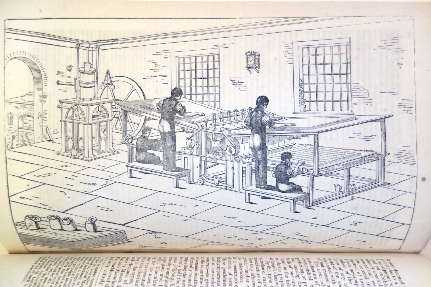 The Applegath & Cowper double cylinder perfecting machine has a Cowper nameplate in the image. It is operated by two men and two boys. The steam engine on the left is the Maudslay Table Engine design.