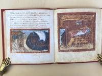 Page opening from the Akademische Druck facsimile of the Vergilius Vaticanus in my library. Image on the left: folio 39v. Dido in her watchtower sees Aneneas sail away *(Aen. 4. 586-91). Imag