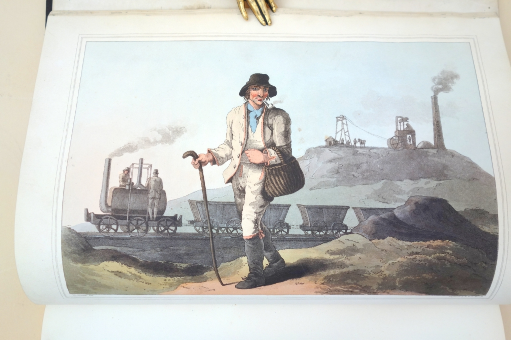 The Collier, hand-colored aquatin by Robert Havell after George Walker showing Bleninsop's rack locomotive Salamanca on the Middleton Railway.