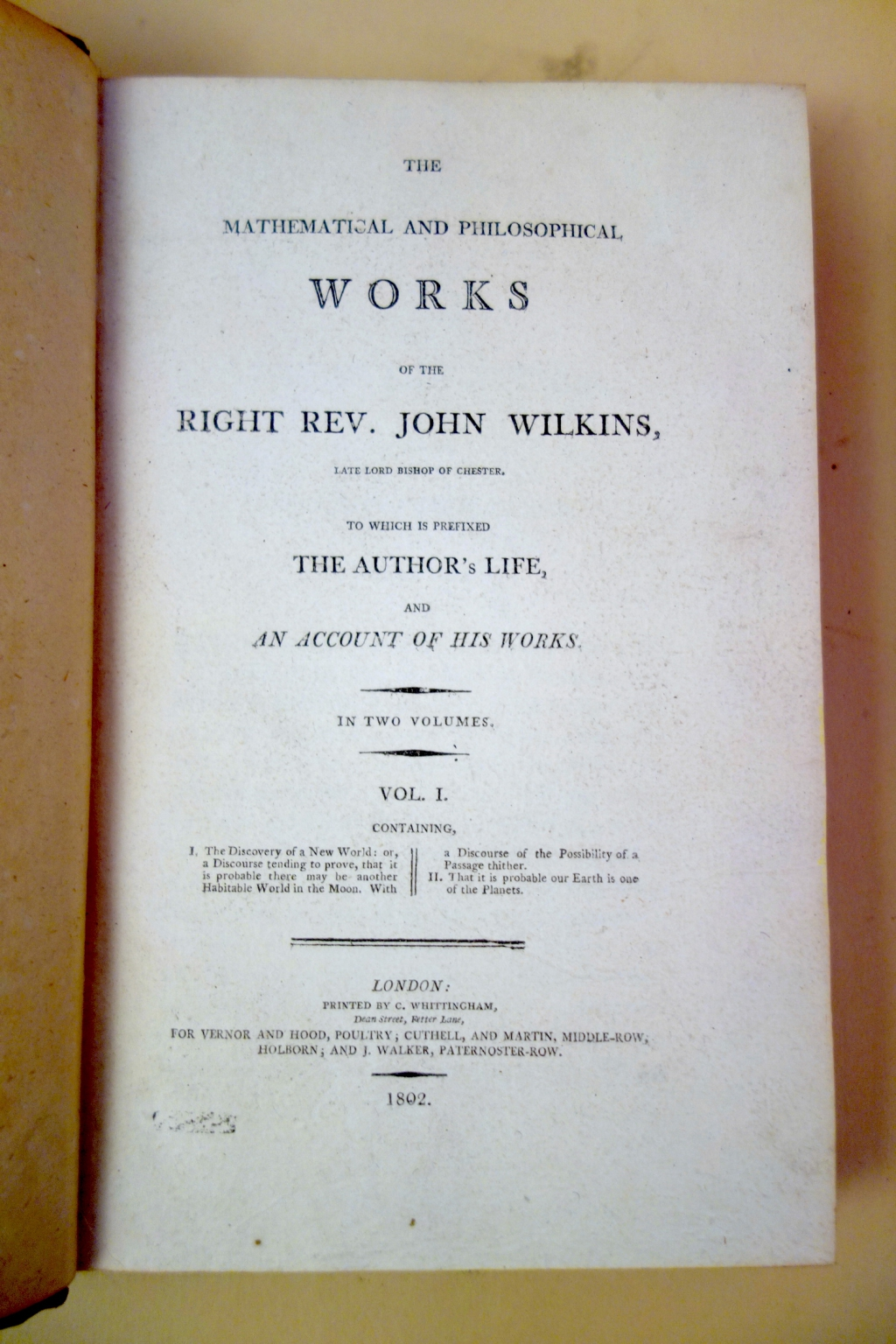 Title page of Wilkins works