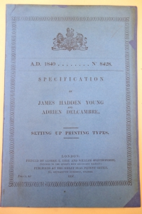 cover of Young and Delcambre typesetting machine patent