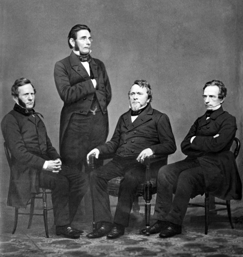 Portrait of the four Harper brothers by Mathew Brady, c. 1860. Left to right: Fletcher, James, John, and Joseph.