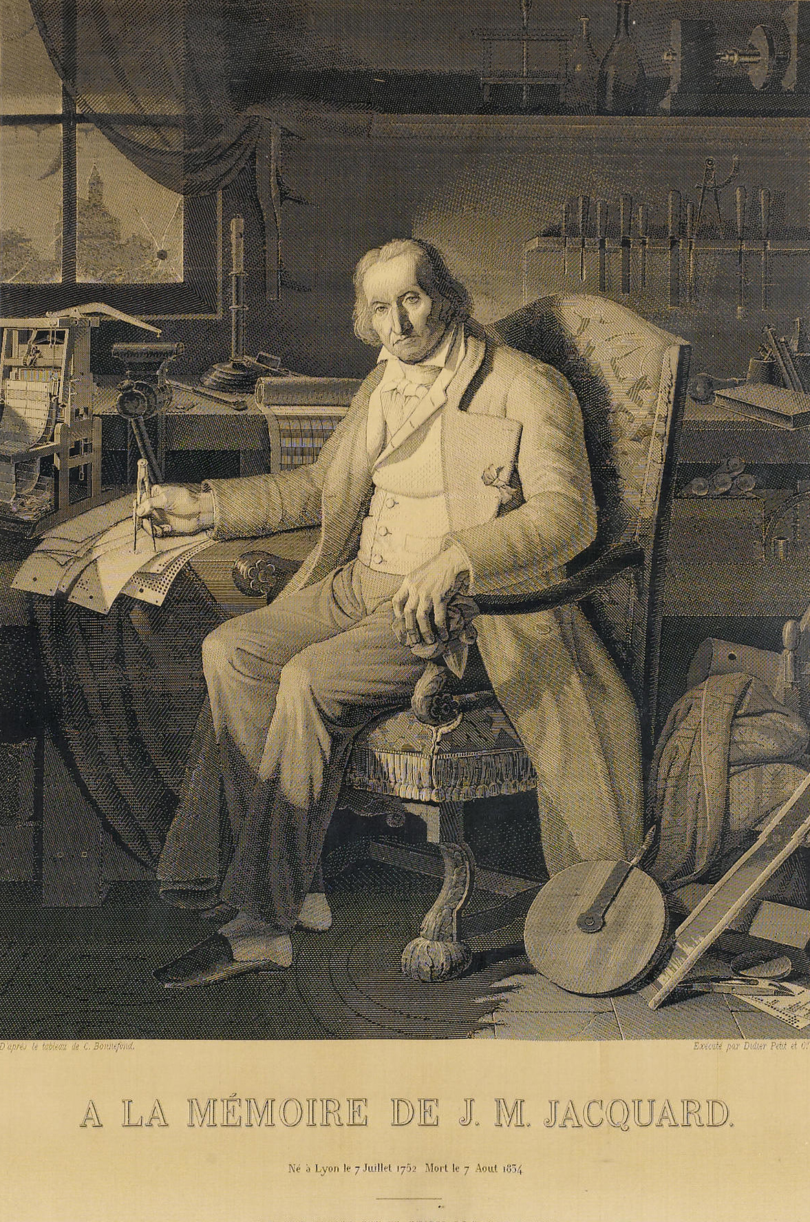 "Portrait of Jacquard woven by the Jacquard loom in 1839. This woven silk portrait of the inventor was based on a painting by Claude Bonnefond (1796–1860)  commissioned by the city of Lyon in 1831. The Lyon manufacturer Didier, Petit et Cie ordered the silk version from weaver Michel-Marie Carquillat, a specialist in this kind of work. Producing the image required 24,000 punched cards. Each card had over 1,000 hole positions. ""The delicate shading, crafted shadows and fine resolution of the Jacquard portrait challenged existing notions that machines were incapable of subtlety. Gradations of shading were surely a matter of artistic taste rather than the province of machinery, and the portrait blurred the clear lines between industrial production and the arts."""