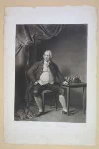 Large folio mezzotint engraved by I. R. Smith of the portrait of Richard Arkwright by Joseph Write of Derby, 1801. This copy is on an untrimmed sheet.