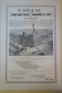 A poster describing the products manufactured by Robert Hoe