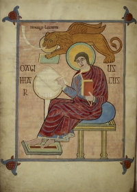 St.Mark, seated, with his symbol, a winged lion blowing a trumpet and carrying a book