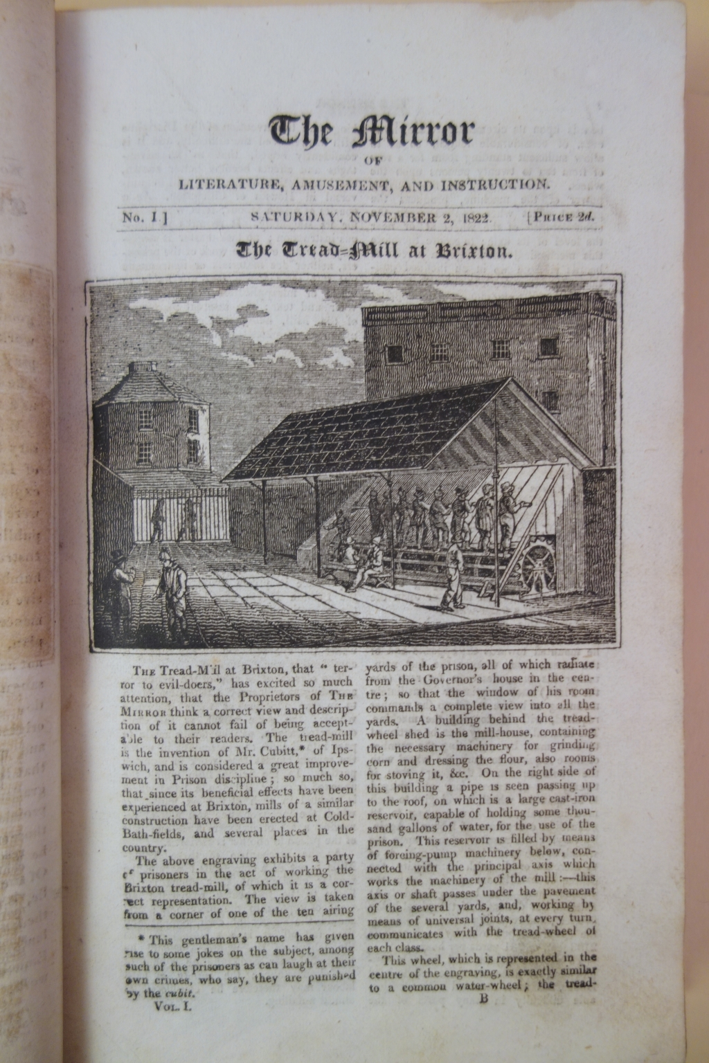 "The lead article in the first issue concerns the tread-mill in the workhouse at Brixton, then considered a ""great improvement in prison discipline."""