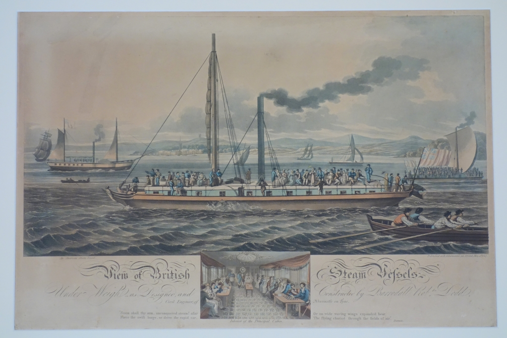"The caption indicates that the ship was designed and constructed y Dodd, civil engineer of Newcastle on Tyne. The ship in the left background is ""An American Steam Vessel."""