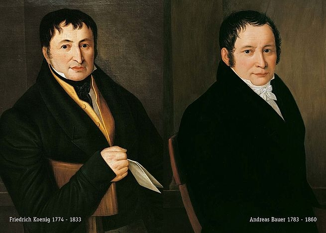 Portraits of Koenig and Bauer.