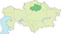 The Botai culture originated from the Akmola province of Kazakhstan, highlighted in green. (View Larger)