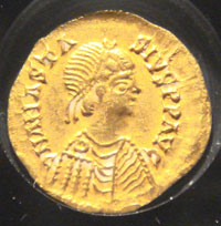 Alaric II, as depicted on a Visigothic coin. (View Larger)