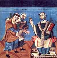 Raban Maur (left), flanked by Alcuin (middle), dedicates his work to Archbishop Otgar of Mainz (Right), taken from a Carolingian manuscript (ca. 831/40) currently residing in the Österreichische Nationalbibliothek Wien. (View Larger)