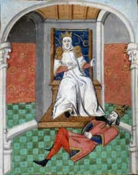 A miniature from a 15th century French translation of Boccaccio's De Casibus Virorum Illustrium, showing Alp Arslan, second sultan of the Seljuk dynasty, humiliating Emperor Romanos IV. (View Larger)