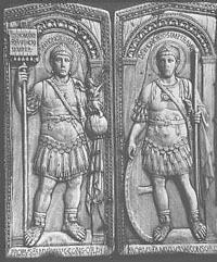 The mentioned diptych, portraying Emperor Honorius in both panels.