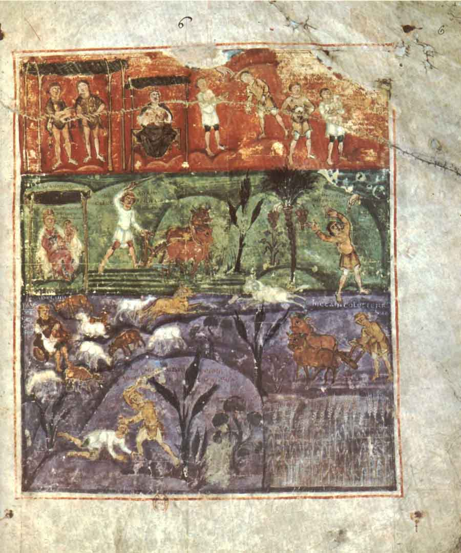 A folio from the Ashburnham Pentateuch depicting Cane and Abel. (View larger)