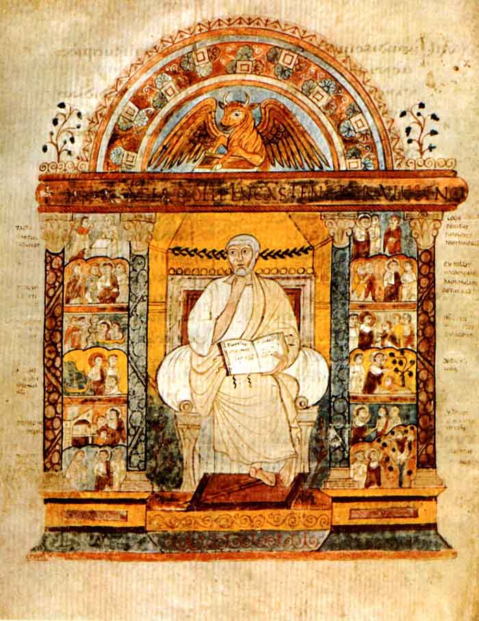 Folio 129v of the St. Augustine Gospels, depicting Luke. (View Larger)