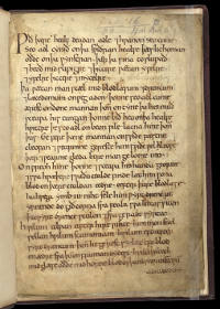 Folio 1r of Harley MS 55, the only surviving copy of the Leechbook of Bald. The manuscript resides in the British Library. (View Larger)