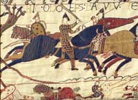 A scene from the Bayeux tapestry, showing Odo, Archbishop of Canterbury, on horseback. (View Larger)