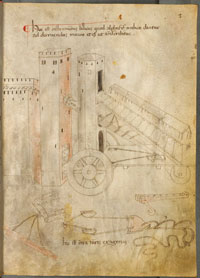 Folio 2r of Bellicorum instrumentorum liber, showing an 'Oriental siege machine.' (View Larger)