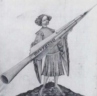 This drawing, from Kyeser's 'Bellifortis,' depicts Alexander the Great holding a rocket. The legend of Alexander was a personal facination for Kyeser. (View Larger)