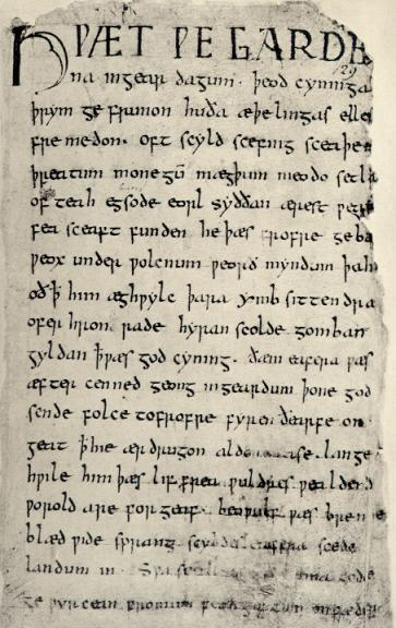The first page of the Beowulf manuscript. (View Larger)