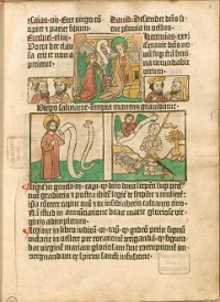 This Biblia Pauperum, or 'pauper's bible,' is the first known work to combine the woodcut images and movable type. (View Larger)