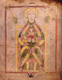 A portrait of St. Mark the Evangelist from folio 30v of the Book of Dimma. (View Larger)