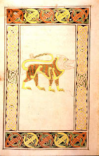 This golden lion, folio 191v of the Book of Durrow, is the symbol of St. John. (View Larer)