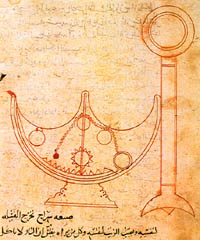 A diagram of a 'self trimming lamp' from the Book of Ingenious devices, preserved in the 'Granger Collection' in New York. (View Larger)