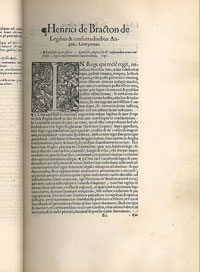 The first edition of Bracton, printed in 1569 by Richard Tottel. (View Larger)