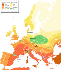 The spread of the Bubonic plague in Europe. (View Larger)