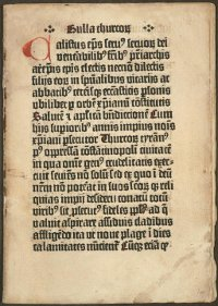 Johannes Gutenberg printed the only surviving copy of the Bulla Thurcorum, which instituted special prayers for Christians during the Turkish encroachment in the Balkans as part of an effort to galvanize European unity in preparation for another Crusade. (View Larger)