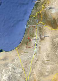A map of Israel, with Caesarea Maritima highlightd in blue. (View Larger)